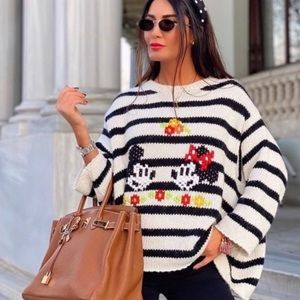 ZARA Striped Oversized DISNEY MICKEY Sweater